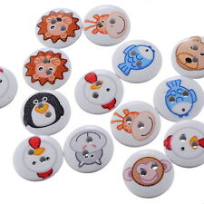 100pcs Mixed Wooden Buttons Sewing Scrapbooking  2 Holes Animal Round 15mm