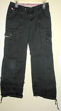 ARIZONA JEANS CO. - JR. 5 - BLACK STRETCH CARGO PANTS -TABS & DRAWSTRINGS ANKLES