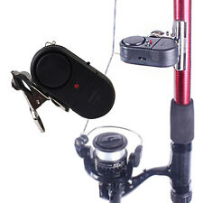 Electronic LED Light Fish Bite Sound Alarm Alert Bell Clip On Fishing Rod Sports