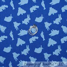 BonEful Fabric FQ Cotton Quilt Blue Animal Calico Hand Bird Bunny Fish Duck Dot
