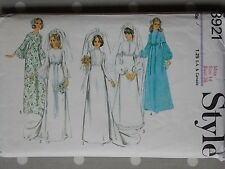 Early 70s Bridal Gown Evening Dress Vtg Sewing Pattern By Style 3921 Bust 36