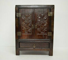 Old Chinese Small Wooden Chest Cabinet with Carved Flower AUG08-17