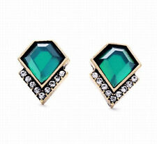 1 Pair Luxury Retro Diamond Style Green Crystal Rhinestone Lady Stud Earrings