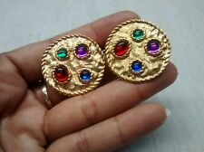 Statement runway vintage multi colors gripoix gold tone  clip earrings