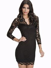 JOHN ZACK BLACK STRETCH LACE SCALLOPED NECKLINE V NECK BODY CON DRESS NEW
