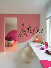 Eiffel Tower Personalized Name Wall Sticker Wall Art Decor Vinyl Decal Stickers