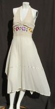 Hand Made Women's Ivory Embroidered Lace Cotton Boho Hippy Halter Dress size S