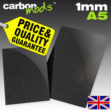 Single Layer Real Carbon Fibre/Fiber Sheet - Wet-Lay, 1mm, A5