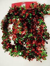 9 FT RED GREEN LOOPS 3 1/2 INCH TINSEL CHRISTMAS DECORATION HOLIDAY TREE