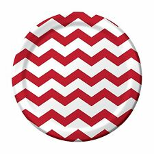 """8 Classic Red White Chevron ZigZag Birthday Party Large 9"""" Paper Lunch Plates"""