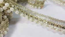 2cm- 1 meter Gorgeous Gold sequins and ivory pearls beaded lace trimming