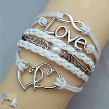 NEW Style White Love Heart Pearl Jewelry Fashion Leather Cute Charm Bracelet