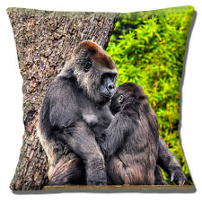 """CUTE NOVELTY SILVERBACK GORILLA WITH YOUNG PHOTO PRINT 16"""" Pillow Cushion Cover"""