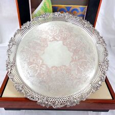 Large Vintage Silver Plated Tray Plate Round Ornate Engraved Grape & Vine Vtg