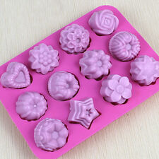 12 Molds Candy Silicone Ice Cube Chocolate Cake Cookie Cupcake Soap Molds Mould