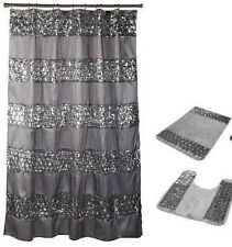 Popular Bath 4 Piece Sinatra Silver Shower Curtain, Waste Basket and 2 Rug Set