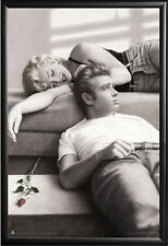 Marilyn Monroe James Dean Lounging Poster in Premium Black Wood Frame 24x36