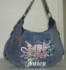 "Juicy Couture Blue Cotton Velour & Leather ""Live For Juicy"" Purse Handbag Bag"