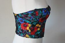 Vtg Empire Intimates 36 Floral Corset Bra Crop Top Hook & Eye USA Boning S/M