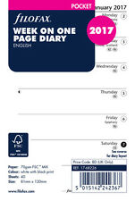 Filofax Pocket 2017 Week on One Page Organiser Diary Insert Refill 17-68226