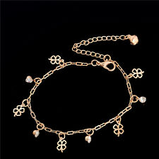 Hot Sale  Rose Gold Plated Clover Ankle Bracelet Charm Bell Thin Chain