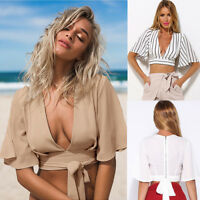 New Fashion Sexy Women Short Sleeve Camisole Shirt Summer Casual Blouse Crop Top