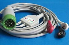 One Piece 3 lead ECG EKG Cable For Physio Control Lifepak 12 AHA Snap