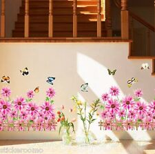 PINK FLOWERS FENCE BUTTERFLIES KIT ROOM WALL ART STICKERS VINYL HOME DECORATION