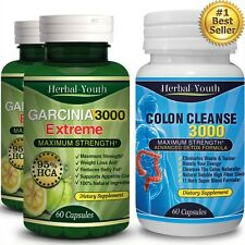 180 x PILLS Garcinia Cambogia 5000mg Daily 95% HCA Colon Detox Weight Loss Diet