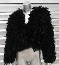SAKOWITZ Vintage Black Feather Marabou Fur Jacket RARE!!