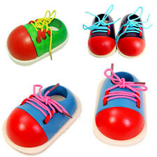 Childrens Wooden Threading Shoe Learn To Tie Laces Educational Game Toy