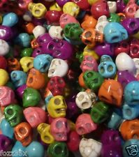 40 Howlite SKULL Beads - 8mm x 10mm Mixed Colours - Gothic Halloween Skulls