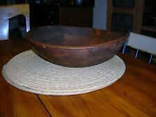 "ANTIQUE PRIMITIVE WOOD DOUGH BOWL OUT OF ROUND VINTAGE COUNTRY LARGE 13"" X 4"""