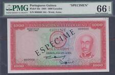 PORTUGUESE GUINEA 1000 ESCUDOS SPECIMEN P-43s ND 1964  PMG 66 EPQ