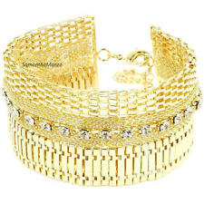 HUGE Crystal Cz CLEOPATRA Mesh Chain Link Tennis Line Flexible Bracelet BLING