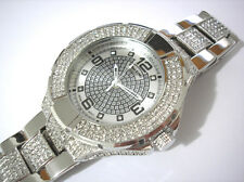 Iced Out Bling Bling Stainless Steel Techno King Men's Watch Silver Item 2273