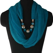 Newest Womens Wrap Neck Bohemian Long Collar Scarf Necklace Pendant Jewelry