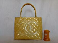 AUTH CHANEL BEIGE Quilted Patent Leather Gold Medallion
