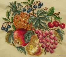 "Preworked Needlepoint Canvas Tapestry Fruits 27"" x 27"""
