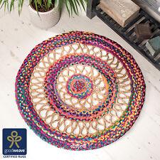 Comercio Justo 90cm Redonda Multicolor Arco Iris Telar Manual yute & Algodón Trenzado de alfombra UK