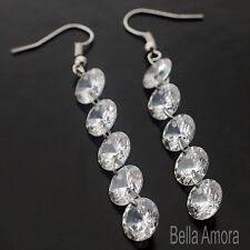 Pltd Plata Pendientes Colgantes De Largo Con Cristales Claro-Damas Regalo UK-Nuevo 235