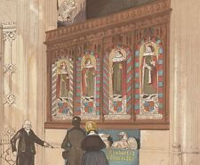 c1880 VICTORIAN PRINT ~PAINTED SCREEN St GEORGES CHAPEL WESTMINSTER ABBEY LONDON