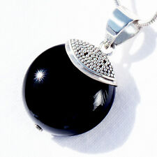 ON04 ONYX SILBER 925 28mm Anhänger f. Kette silver 925 pendant ONYX w. VIDEO