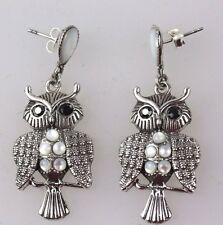 OWL BIRD EARRINGS SILVER 925 SET WITH PEARLS VINTAGE STYLE