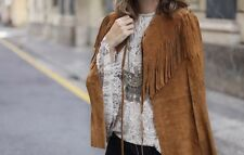 Zara NWT Suede Leather Fringe Cape Poncho Vest Jacket Tan Medium