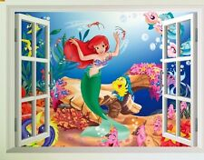 USA 3D The Little Mermaid Ariel Removable window Scene Wall Decals Stickers Kids