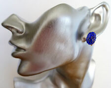 Beautiful Royal Blue Diamante Domed CLIP ON Stud Earrings in Gold Tone
