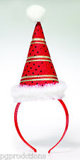 CHRISTMAS MINI SANTA HAT ON HEADBAND Elf Costume Cap Adult Red Gold Stripes Joke