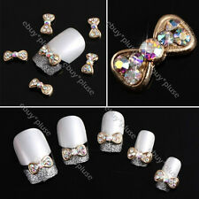 Wholesale 100x 3D Gold Alloy Bow Tie Nail Art Colorful Glitters DIY Decorations