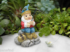 Miniature Dollhouse FAIRY GARDEN Accessories ~ Fishing Woodland Gnome ~ NEW
